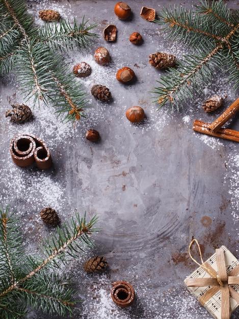 Boże Narodzenie Tło Z Gałęzi Jodłowych Premium Zdjęcia