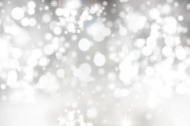 Boże Narodzenie Tło Z Płatki śniegu I światła Bokeh Darmowe Zdjęcia