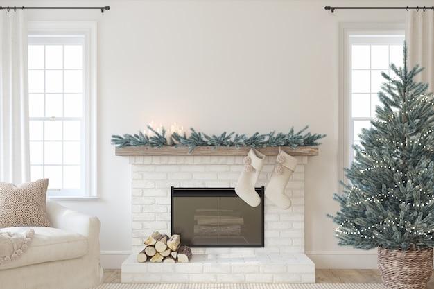 Boże Narodzenie Wnętrze Z Kominkiem. Styl Wiejski. Makieta Wnętrza. Renderowania 3d. Premium Zdjęcia