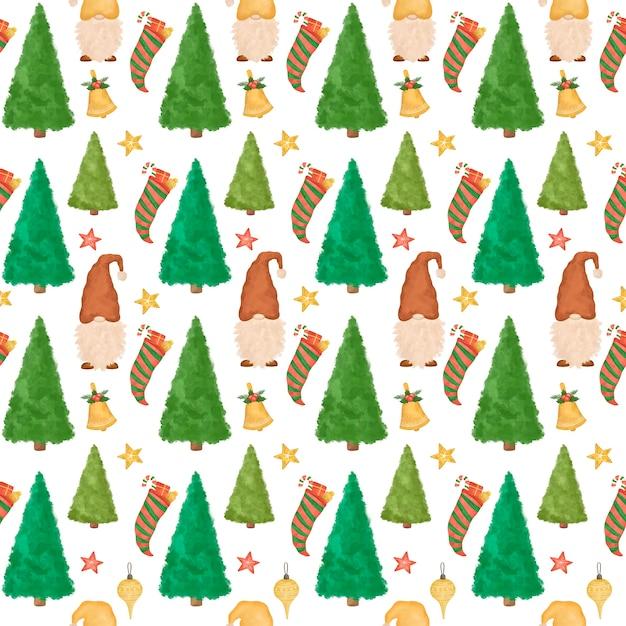 Boże Narodzenie Wzór, Ręcznie Rysowane Kreskówka Krasnale, Choinki, śmieszne Tło Nowego Roku Premium Zdjęcia