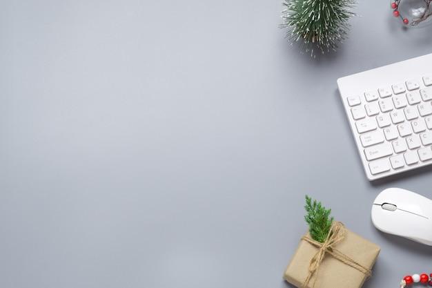 Bożenarodzeniowy Sceny Tło Biurowa Desktop Pracy Przestrzeń Premium Zdjęcia