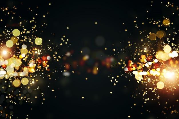 Bożenarodzeniowy Tło Z Złotym światła Bokeh. Xmas Kartkę Z życzeniami. Premium Zdjęcia