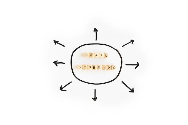 Brainstorming Bloki Otaczający Strzałkowatymi Kierunkowymi Znakami Na Białym Tle Darmowe Zdjęcia
