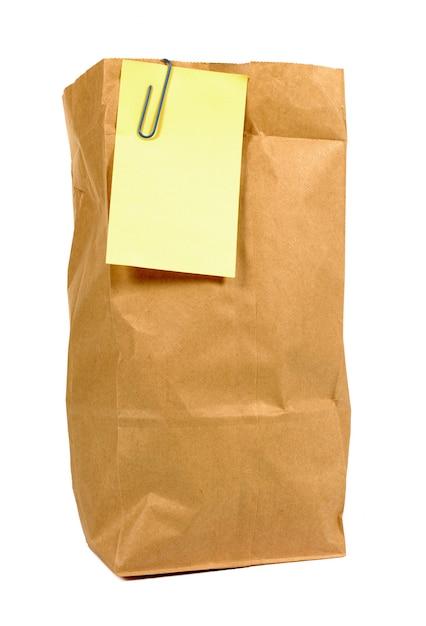 Brązowy Papierowa Torba Obiad Z żółtym Ją Zaksięgować Uwaga Darmowe Zdjęcia