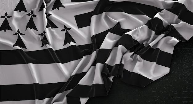 Brittany Flag Zgnieciony Na Ciemnym Tle Renderowania 3d Darmowe Zdjęcia