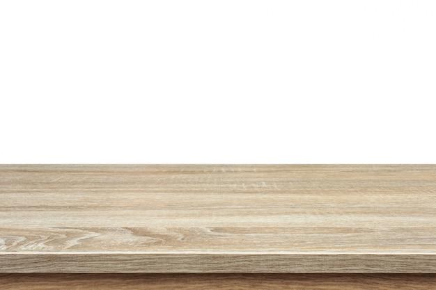 Brown Drewniany Stół Lub Kontuar Odizolowywający Na Bielu Premium Zdjęcia