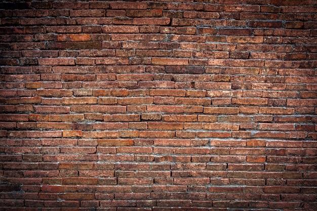 Brown ściana z cegieł tekstury grunge tło z winieta kątami Premium Zdjęcia