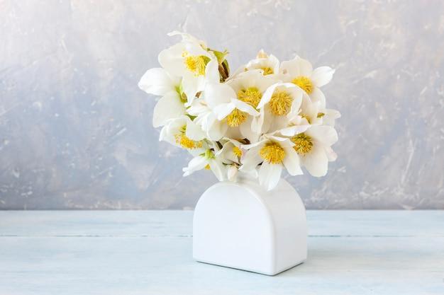 Bukiet świeżych Wiosennych Kwiatów Ciemiernika W Białym Wazonie. Premium Zdjęcia