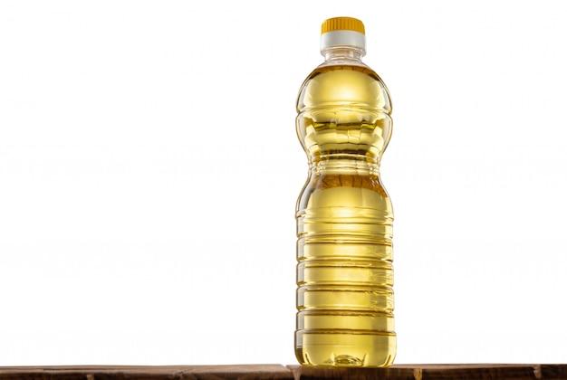 Butelka Oleju Słonecznikowego Na Stole Premium Zdjęcia