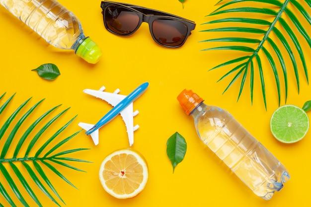 Butelka z czystą wodą i samolot zabawka. turystyka i koncepcja czystej wody Premium Zdjęcia
