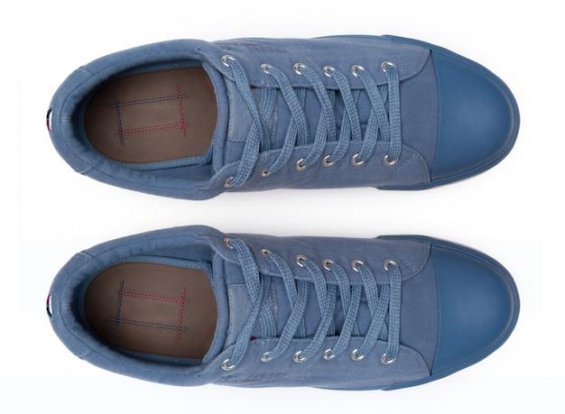 Buty odizolowywający na białym tle. widok z góry. Premium Zdjęcia