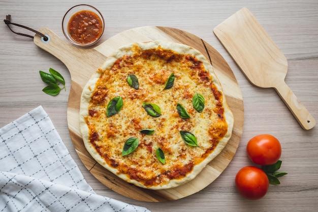 Cenital Strzał Pizzy Wegańskiej Premium Zdjęcia
