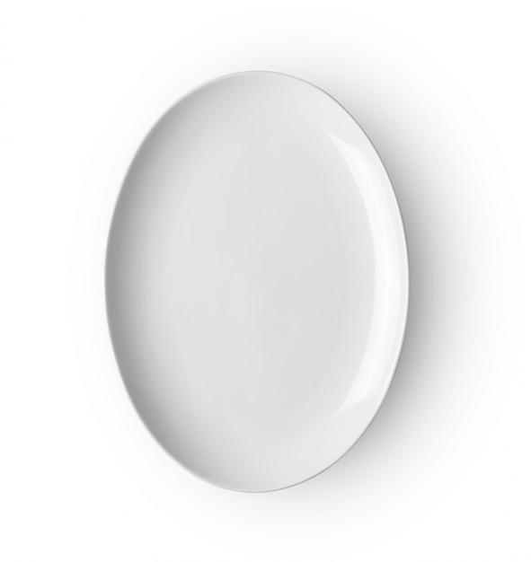 Ceramiczny Talerz Odizolowywający Na Białym Backgroud. Widok Z Góry Premium Zdjęcia
