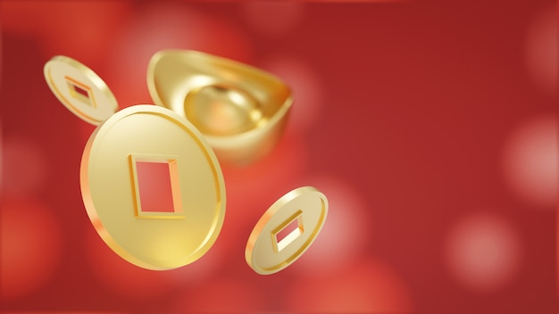 Chińska Złota Moneta I Yuan Bao. Chiński Złoty Sycee Na Czerwono Premium Zdjęcia
