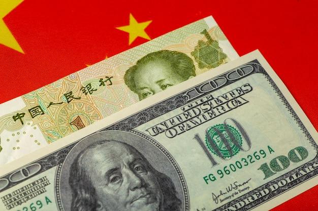 Chińskiego Juana I Dolara. Chińska I Amerykańska Waluta, Ekonomia I Polityka Premium Zdjęcia