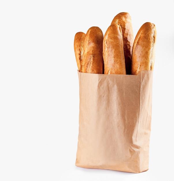 Chleb Bagietkowy W Papierowej Torbie Premium Zdjęcia