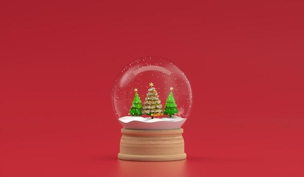 Choinka W Dekoracji śnieżki Na Białym Tle. Renderowanie 3d Premium Zdjęcia