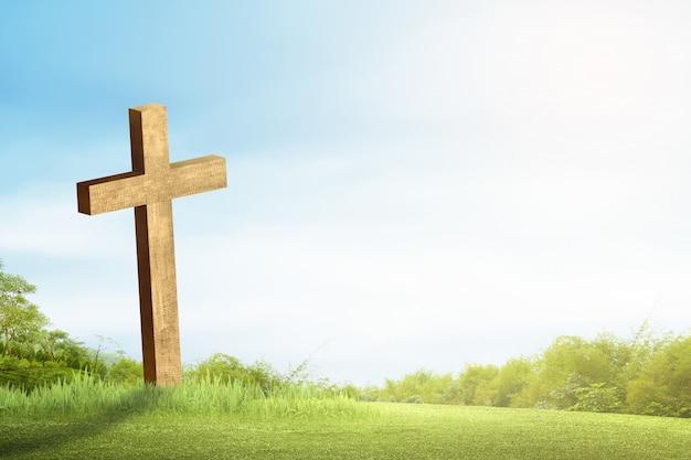 Chrześcijanina krzyż na zielonej trawie z światłem słonecznym Premium Zdjęcia