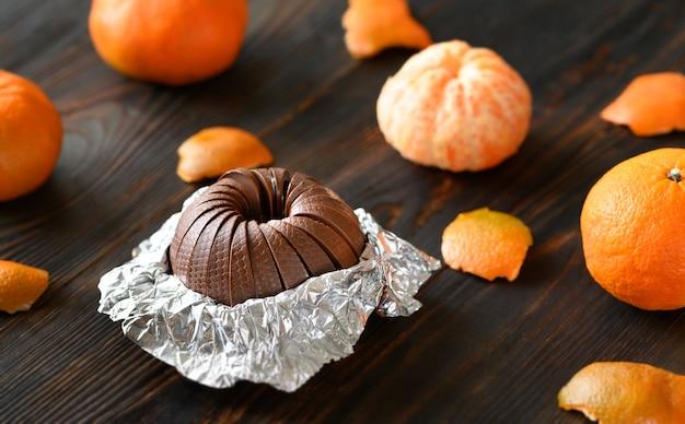 Ciemna Czekolada Pomarańczowa Premium Zdjęcia