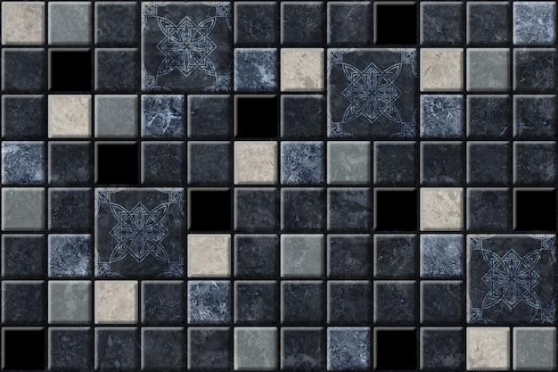 Ciemne Dekoracyjne Płytki Ceramiczne O Fakturze Naturalnego Kamienia. Marmurowa Mozaika Tekstura Tło Premium Zdjęcia