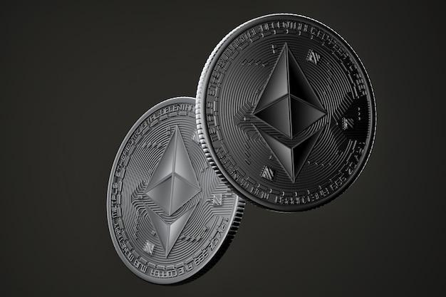 Ciemne Monety Ethereum Premium Zdjęcia