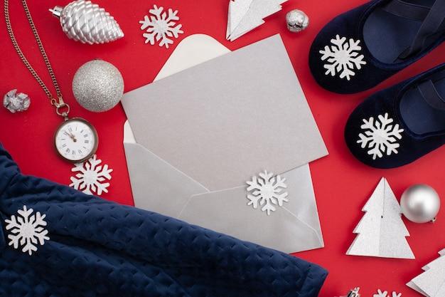 Ciemnoniebieska świąteczna Sukienka Dla Dziewczynki Na święta Premium Zdjęcia
