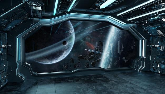 Ciemnoniebieski statek kosmiczny futurystyczne wnętrze z widokiem na okno na kosmos i planety Premium Zdjęcia