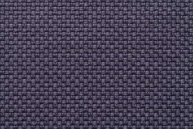 Ciemnoniebieskie tło włókienniczych z szachownicą, zbliżenie struktura tkaniny makro Premium Zdjęcia