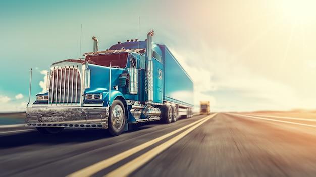 Ciężarówka biegnie na autostradzie Premium Zdjęcia