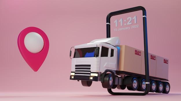 Ciężarówka Dostawcza 3d Załadowana Kartonem I Smartfonem Ze Wskaźnikiem Mapy. Koncepcja Dostawy I Wysyłki. Premium Zdjęcia
