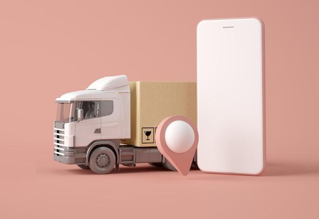 Ciężarówka Dostawcza Z Pudełkami, Wskaźnikiem Mapy I Smartfonem Premium Zdjęcia