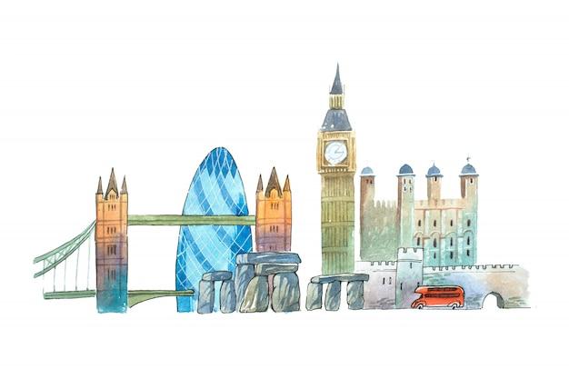 City Of London Skyline Słynne Zabytki Podróży I Turystyki Waercolor Ilustracji. Premium Zdjęcia