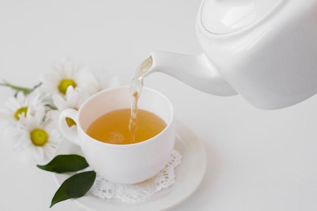 Close-up herbaciany dolewanie do filiżanki na tacy Darmowe Zdjęcia
