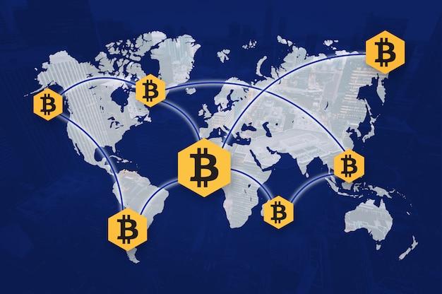 Cryptocurrency bitcoin block chain sharing photo Premium Zdjęcia