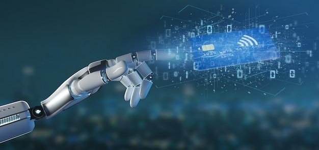 Cyborg ręka trzyma koncepcję płatności kartą zbliżeniową Premium Zdjęcia