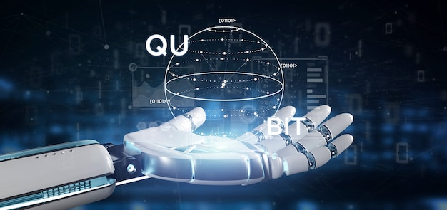 Cyborg Ręka Trzyma Pojęcie Obliczeń Kwantowych Z Qubit Ikona Renderowania 3d Premium Zdjęcia