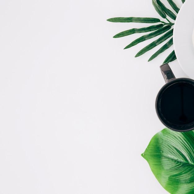 Czarna filiżanka kawy i zielone liście na białym tle z miejsca kopiowania do pisania tekstu Darmowe Zdjęcia