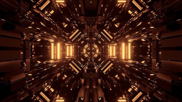 Czarna Kosmiczna Przestrzeń Ze Złotymi światłami Laserowymi - Idealna Na Tapetę Cyfrową Darmowe Zdjęcia