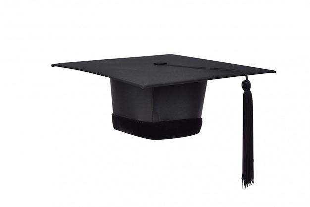 Czarne Kapelusze I Czarne Frędzle Absolwentów Uczelni Wyższych Na Białym Tle Premium Zdjęcia