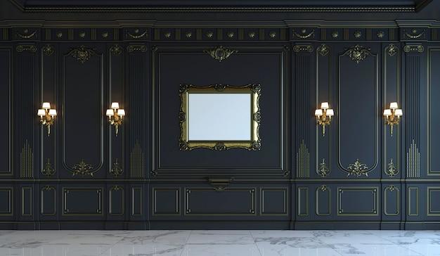Czarne panele ścienne w stylu klasycznym ze złoceniem. renderowania 3d Premium Zdjęcia