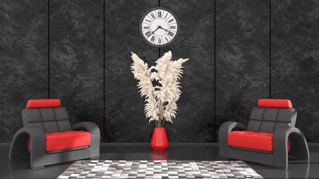 Czarne Wnętrze Z Czarno-czerwonym Fotelem I Zegarem Do Makiety, Ilustracja 3d Premium Zdjęcia