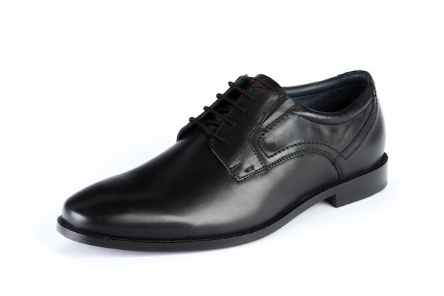 Czarni rzemienni formalni samiec buty odizolowywający na białym tle Premium Zdjęcia