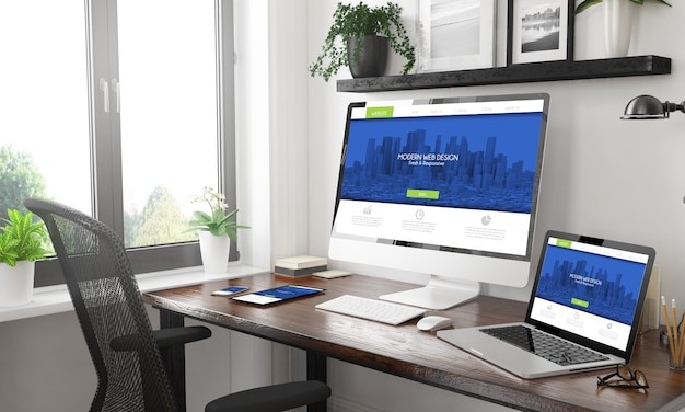 Czarno-biała Makieta Responsywnych Urządzeń Responsywnych Nowoczesnych Projektów Internetowych Premium Zdjęcia