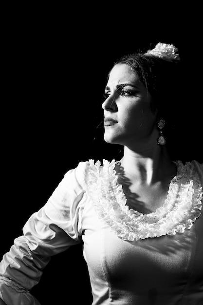 Czarno-białe Flamenca Odwracając Wzrok Darmowe Zdjęcia