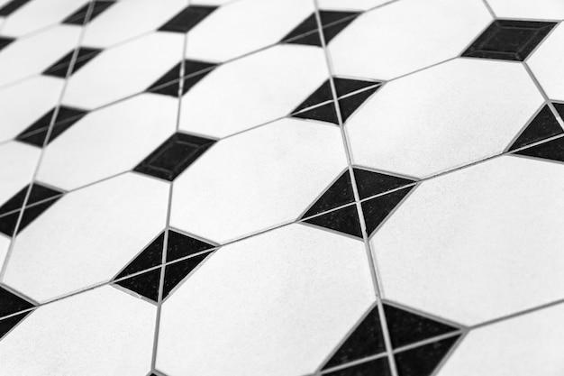 Czarno-białe Kolorowe Tło Mozaiki. Zamyka W Górę Czyścić Czarny I Biały Mozaik Płytek Prysznic ściany Tekstury Tło Premium Zdjęcia