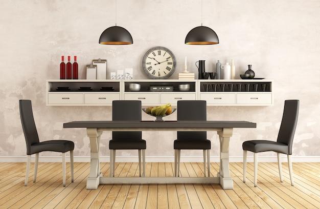 Czarno-biały Retro Jadalnia Ze Starym Stołem I Krzesłami 3d Wnętrze Premium Zdjęcia