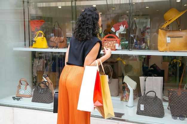 Czarnowłosa Kobieta Trzymająca Torby Z Zakupami, Wpatrzona W Witrynę Sklepową, Stojąca W Sklepie Na Zewnątrz. Widok Z Tyłu. Koncepcja Zakupów Okien Darmowe Zdjęcia