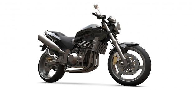 Czarny Dwumiejscowy Motocykl Miejski. Renderowania 3d. Premium Zdjęcia