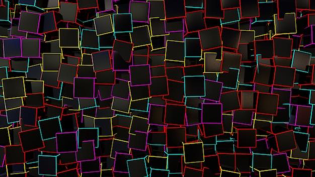 Czarny Kwadratowy Pudełkowaty Abstrakcjonistyczny Tło Premium Zdjęcia