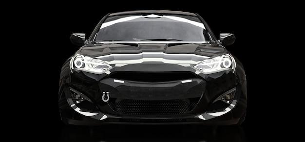 Czarny Samochód Sportowy Coupe Na Czarnym Tle. Renderowania 3d. Premium Zdjęcia